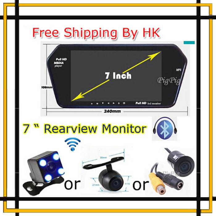Free Shipping HK Wireless HD 7'' TFT LCD 1024*600 Auto Mirror Monitor Bluetooth MP5 Rear View Backup Camera Parking Assistance(China (Mainland))