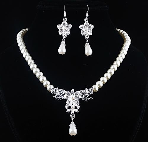 2016 Imitation Pearl Wedding Jewelry Set Classic Clear Crystal Charm Gift Silver Plated White Pearls Set