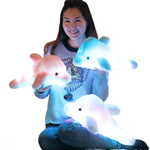 Buy 45cm Creative Luminous Plush Dolphin Doll Glowing Pillow, LED Light Plush Animal Toys Colorful Doll Kids Children's Gift WJ453 for $8.39 in AliExpress store