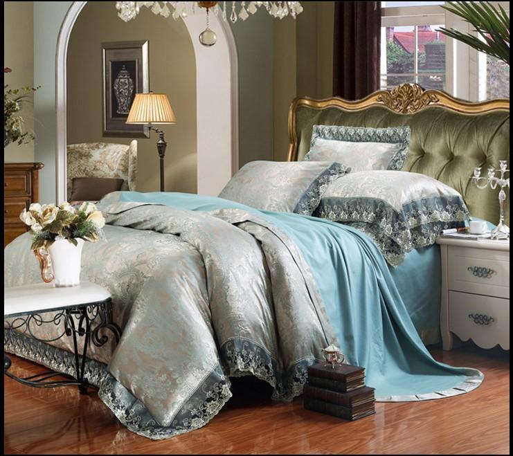 European Style Elegant Bedclothes 4pcs Silk Cotton A B
