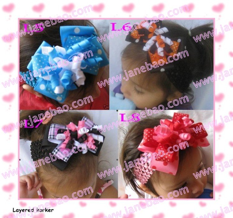 free shipping 100pcs 4'' M2MG Layered Korker Hair Bow boutique corker hair clips(without headbands)(China (Mainland))