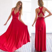 סקסי נשים Multiway לעטוף להמרה Boho מקסי מועדון אדום שמלת תחבושת ארוכה שמלת המפלגה השושבינות אינפיניטי Robe לונג Femme(China)