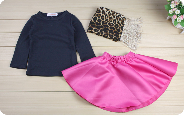 Girls Spring Autumn Clothing Suits Long Sleeve Black Color Blouse + Swing Skirt + Leopard Scarf  Kids Clothes Sets For 2-8Years