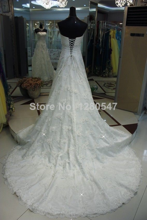 Stunning2014fashion real sample strapless a line bridal for Strapless wedding dresses with long trains