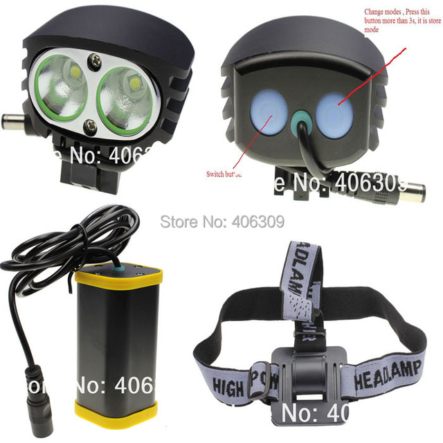 MTB MJ-880 2*Cree XM-L U2 2000-Lumen 4-mode LED Mountain bike light (4*16850 battery pack )+ Free Shipping