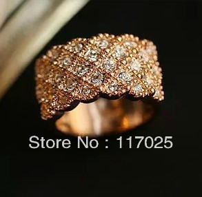 Italina brand 1PC new 18K Gold Plated zircon luxury exaggerated wide editions ring jewelry rings - jam wu 's store