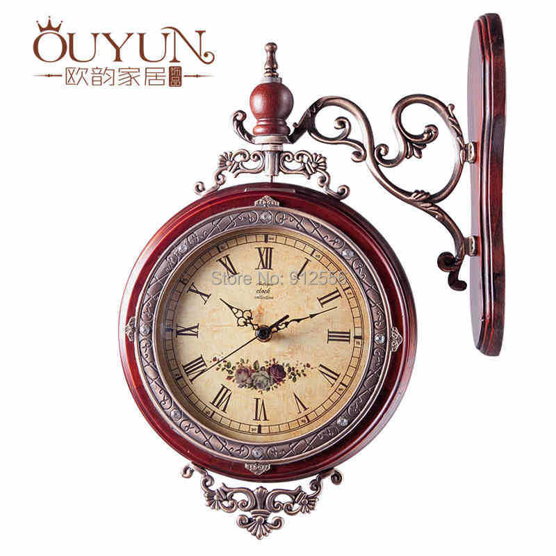 Buy european solid wood double sided wall clock antique for Antique wall clock wood