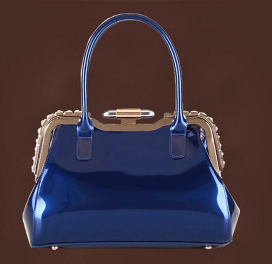 2016 new hot luxury European women handbags tote patent leather women shoulder messenger bag fashion wedding party bag(China (Mainland))
