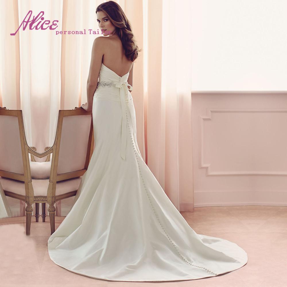Мода милая рукавов из бисера кнопка с бантом атласная русалка свадебные платья 2016 длинные vestido де noiva