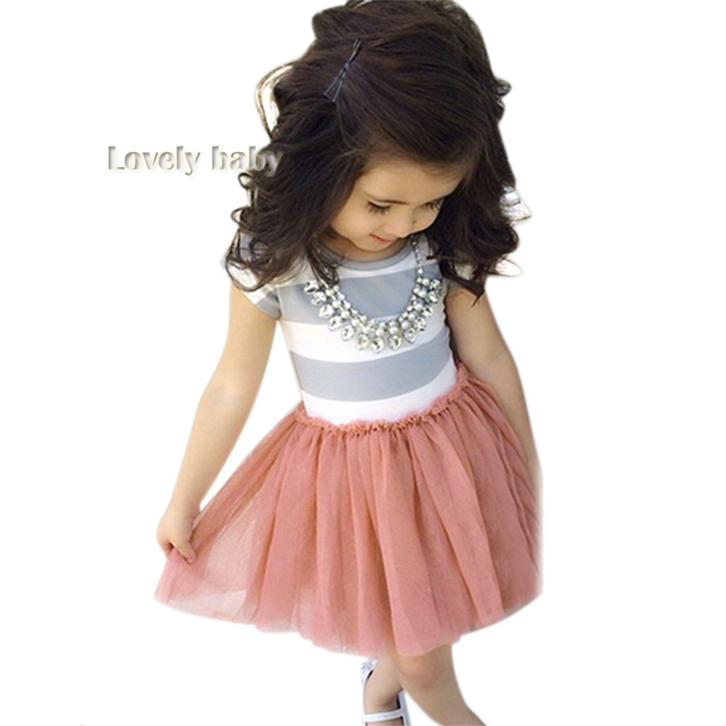 4pcs/lot Toddler Baby Girls Short Sleeve Striped Tops Pleated Dress Princess Dresses 3-10Y Freeshipping 35<br><br>Aliexpress
