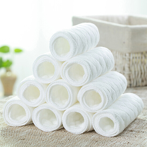 Sanwood 10 Pcs Reusable Baby Cotton Cloth Diaper Newborn Nappy Liners Insert 3 Layers