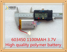 li-polymer rechargeable battery 3.7V 603450 Lithium polymer battery 1100mAh 603450 ( size: 6*34*50mm)(China (Mainland))