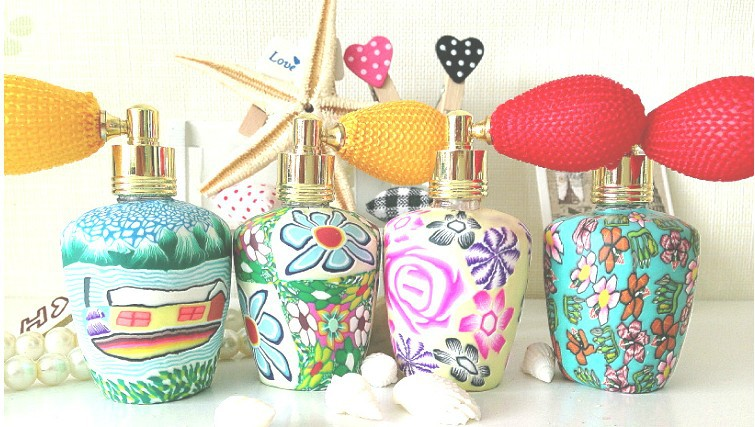 whole 50pieces/lot 15ml multi colors polymer clay travel refillable empty atomiser spray perfume bottle,perfume container<br><br>Aliexpress