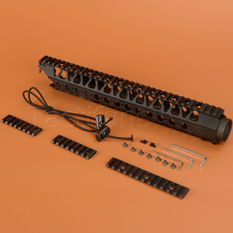 Free Floating 5.56 Picatinny Handguard Rail for LVOA-C Rail System Aluminum One Top with Carbon Steel Barrel Nut & Bungee M4(China (Mainland))