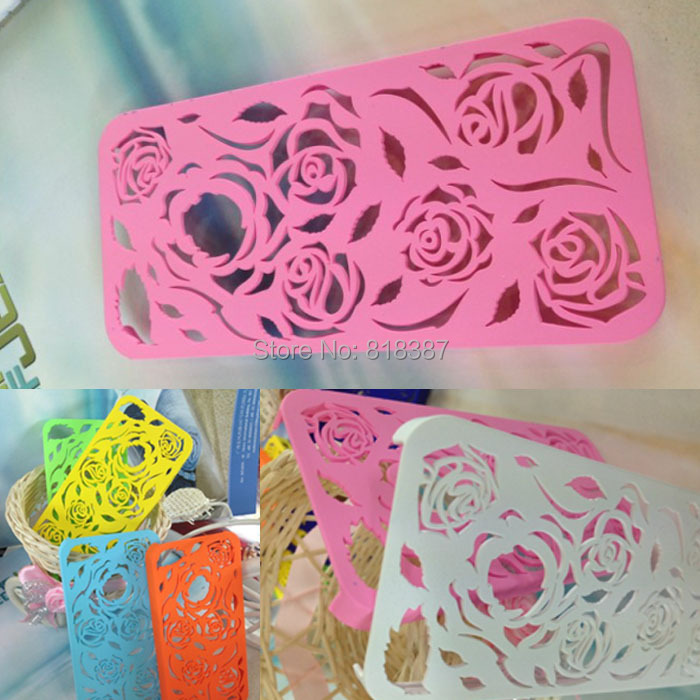 High Quality Rose Flower Net Mesh Sculpture Design Ultra Thin Hard Plastic Case Shell Cover Skin For iPhone SE 5 5S 5G 20pcs/lot(China (Mainland))