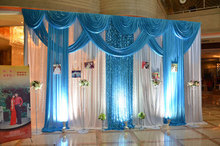 Drape White blue curtain ice silk fabric with swag stage