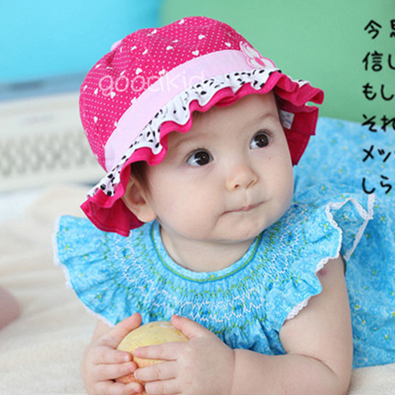 Spring and summer male laciness dot bucket hats child hat sunbonnet sun hat