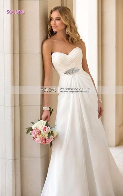 В наличии! Линии шифон пляж свадебное платье старинные Boho дешевые свадебное платье ...