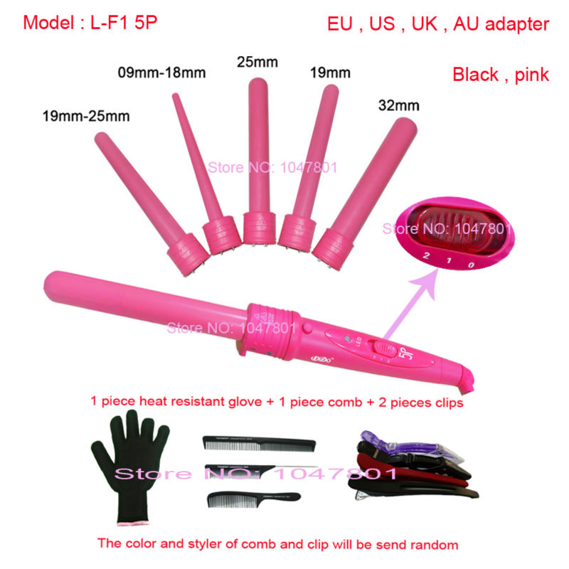 5P Ceramic Hair Curler Set 5 Sizes Curling Wand Rollers 5 Part Curler + Glove + Clips + Comb , 110-220V Free Shipping(China (Mainland))