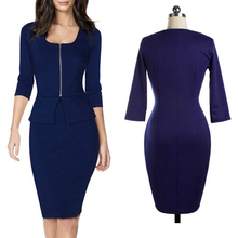 New Womens Hot Sale Sheath Dress Blue Purple Colored OL Bussiness Office Middle Sleeve Dress Polyester Suit(China (Mainland))