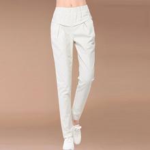 Spring and summer cotton elastic waist big yards simple solid color linen slacks nine points harem pants washed straight