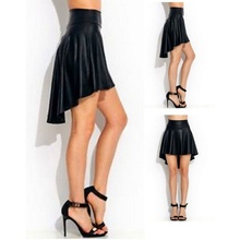 Buy Sexy Women's Girls Black Faux Leather Mini Skirt High Waist Irregular Solid Skirt for $4.88 in AliExpress store