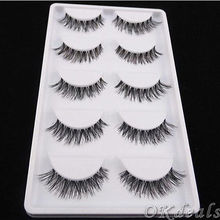 5 Pairs Of New Women Lady Lot Black Cross False Eyelashes Soft Long Makeup Eye Lashes Extension Tools(China (Mainland))