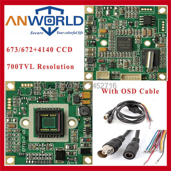 Free shipping CCTV camera chip board SONY Effio 4140+673 700TVL PCB Board, Sony module with OSD cable,CCTV Board high definition(China (Mainland))