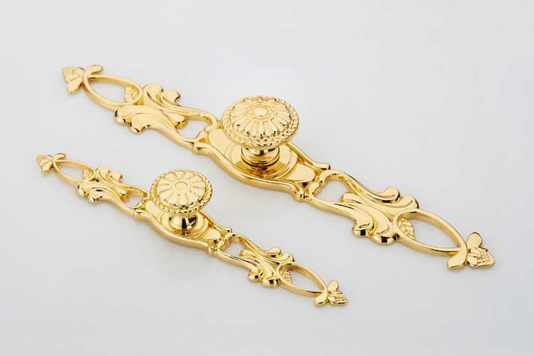 Gold plated LUXURY Zinc alloy cabinet handle drawer pull L=155mm(China (Mainland))