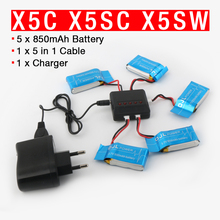 Syma X5C X5SW X5SC X6SW RC Quadcopter Battery 3.7V 850mAh Lipo Battery Spare Parts with 5 in1 cable