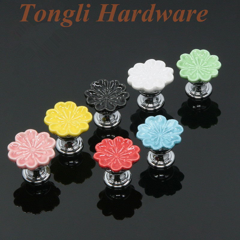 Peach blossom flower 10 pcs/lot white Black pink red green blue yellow ceramic cabinet handle drawer pull child's bedroom knobs(China (Mainland))