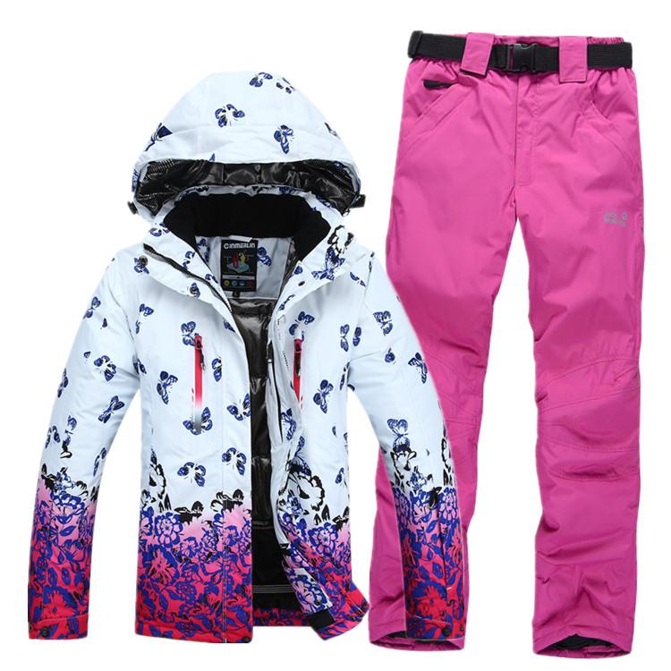 FREE SHIPPING 2014 women winter cotton coat set hiking outdoor jacket pant women snowboarding ski suit skiing set women(China (Mainland))