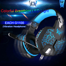 EACH G1100 Vibration Gaming Headset Gamer Professional Gaming Headphones Fone De Ouvido Mic Stereo Bass LED Light for PC Gamer