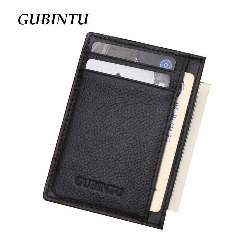Gubintu Genuine Leather Men Slim Front Pocket Card Case Credit Super Thin Fashion Card Holder trave wallet tarjetero hombre(China (Mainland))