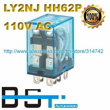 110V AC Coil Power Relay DPDT LY2NJ HH62P-L JQX-13F with Silver Alloy Contacts and LED Lamp(China (Mainland))