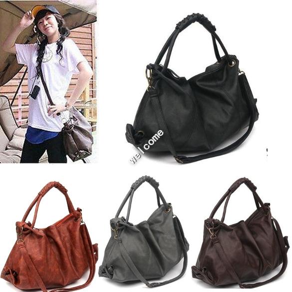 2014 Hot Sale New Korean Style Lady Hobo PU Leather Handbag Shoulder Bag free shipping(China (Mainland))