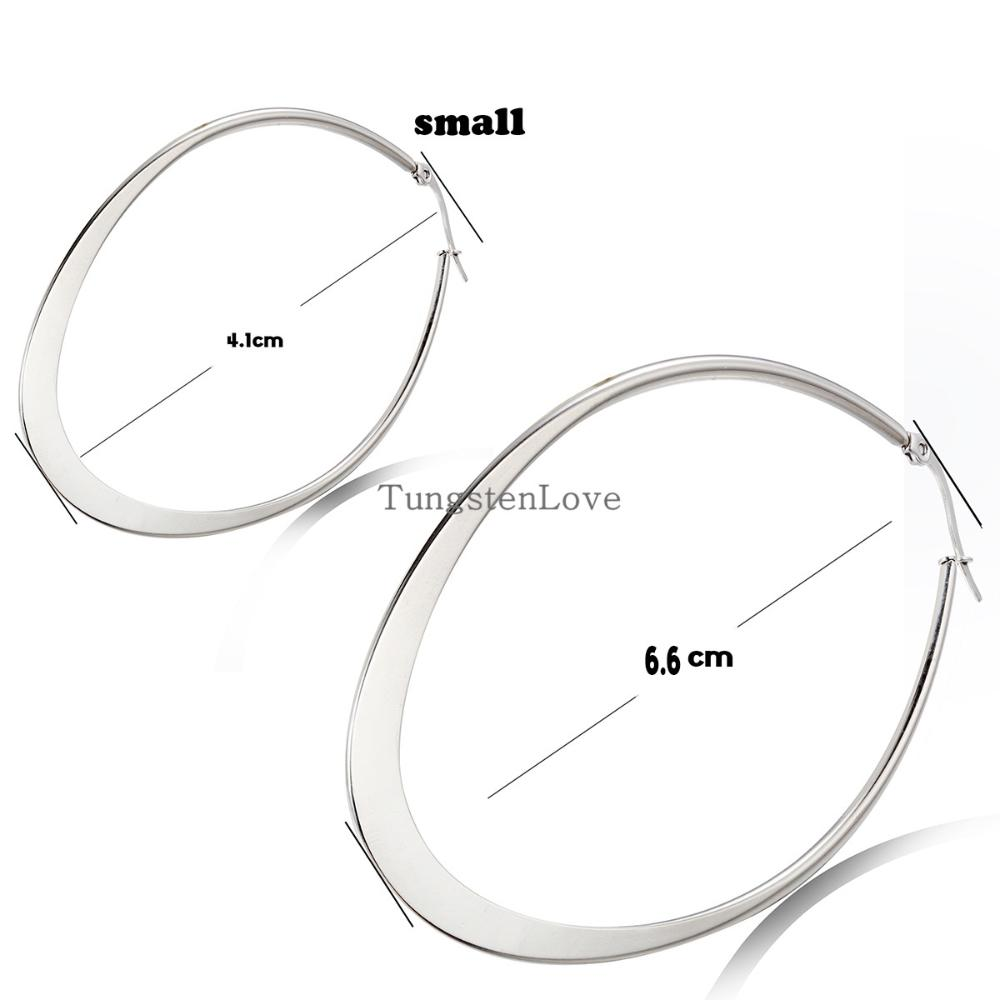 2015 New fashion Hoop Stainless Steel Silver earrings high quality earrings for women jewelry Oval Hoop Earrings Big Size(China (Mainland))