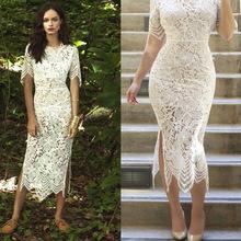 Elegant Fashion Lace Dress Perspective Sexy Woman White Spotless Long Dress Bridal Gown Vestido Longo