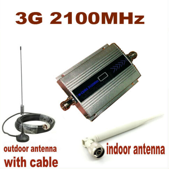 W-CDMA 2100Mhz Cell Phone Signal Amplifier 3G Repeater Mobile Phone 3G Signal Booster WCDMA Signal Repeater + 10m Cable +Antenna(China (Mainland))