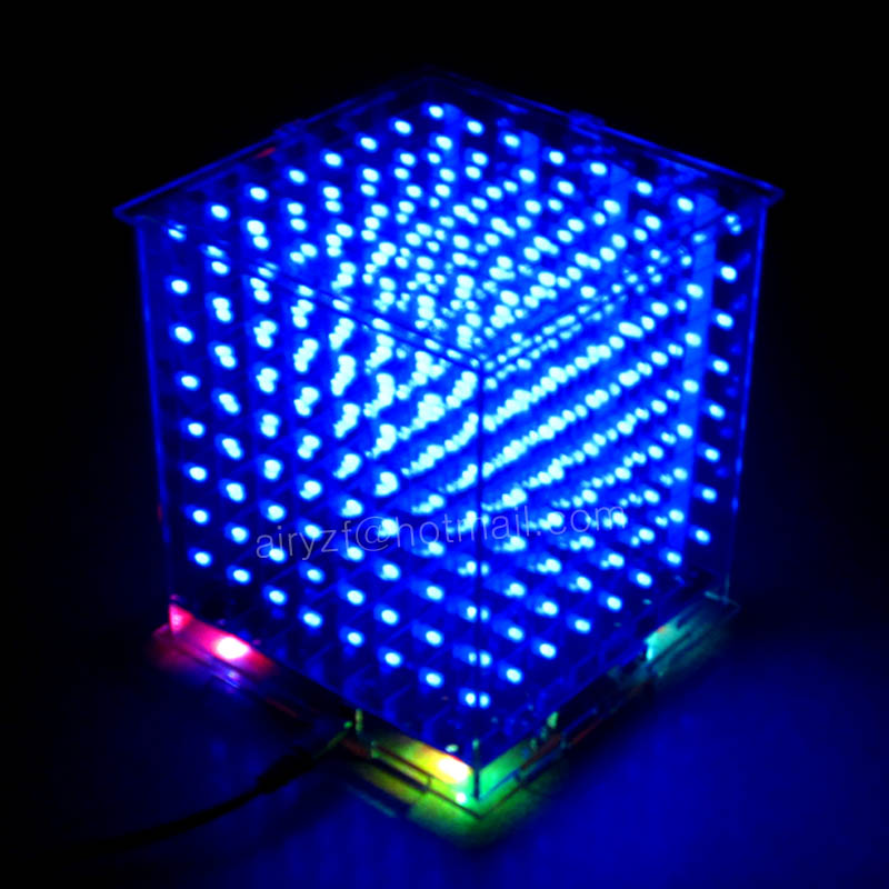 DIY 3D 8S LED mini light cube With the most perfect animation Effects /3D CUBE 8 8x8x8 Kits/Junior,3D LED Display,Christmas Gift(China (Mainland))