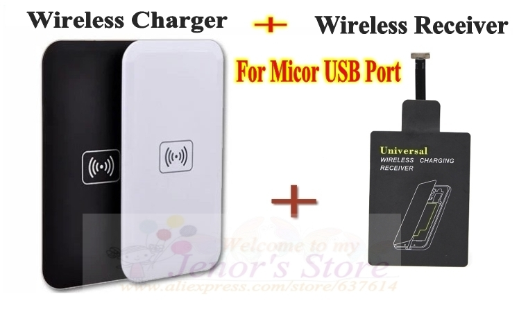 Qi Wireless Charging Pad + Charger Receiver Samsung Galaxy S5 S4 Note HTC LG Nokia Micro-USB Mobile Phone, 1set/lot - Online Store 637614 store