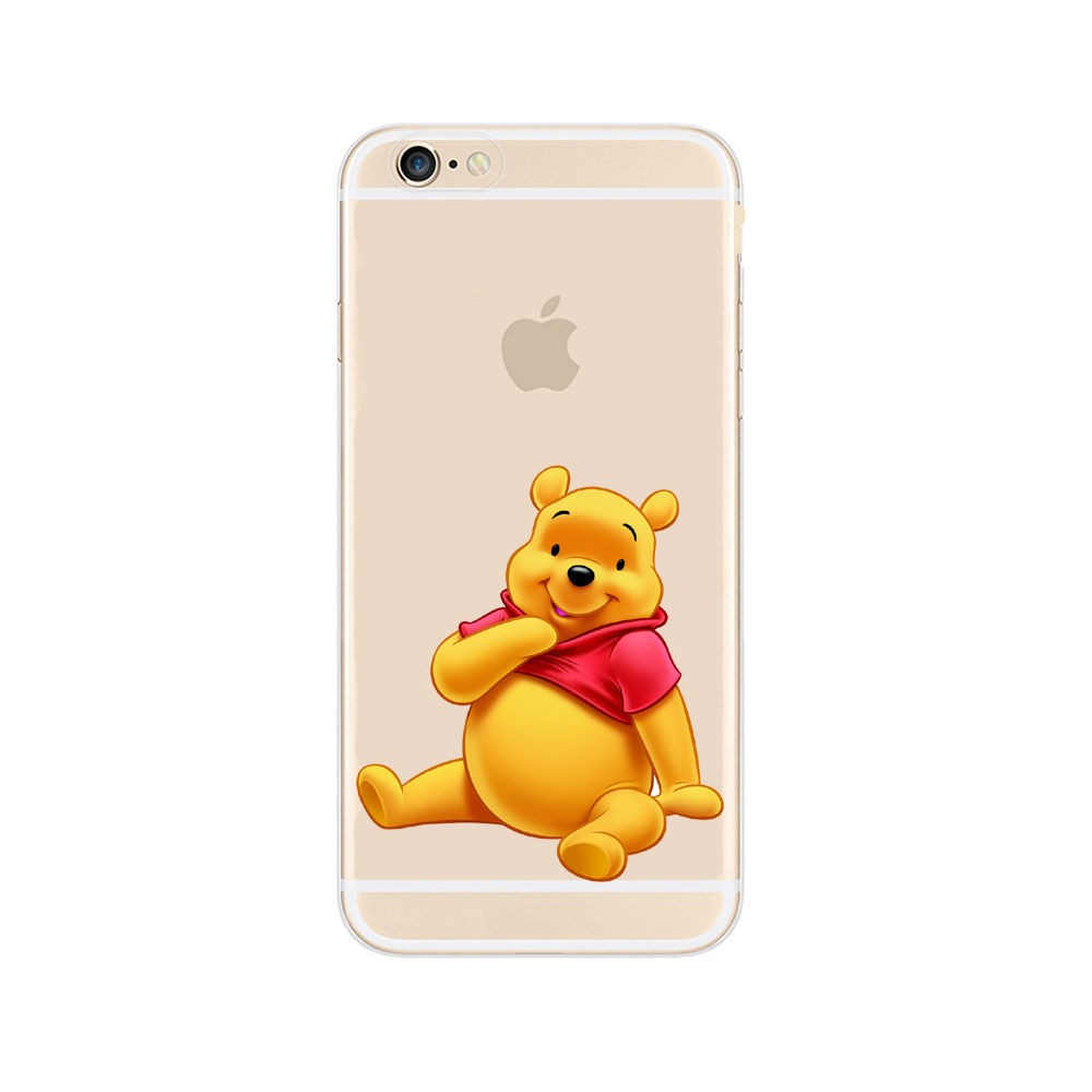 Super Cute Winnie Pooh Design Transparent PC Case Cover For Apple iphone 4 4S 5 5S 5C 6 6S Plus Shell