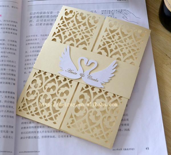 Aliexpresscom buy swan invitations wedding card for Chawla wedding cards boxes ludhiana punjab