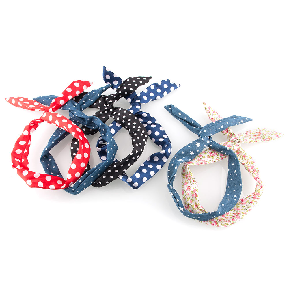 Retro Wire Bendy Headband Hair Blue Scarf Band Big Dot Beauty Accesory Free Shipping(China (Mainland))