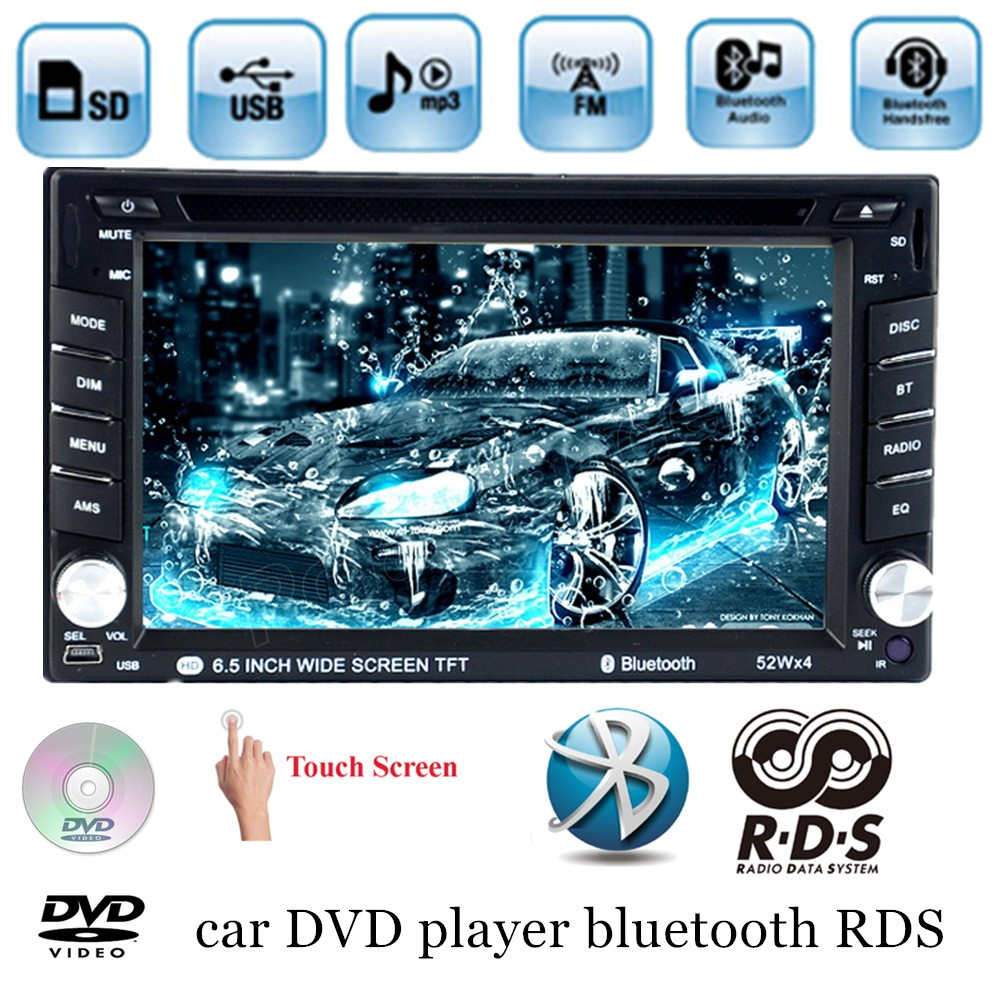 6.5 inch 2 Din HD Bluetooth handsfree touch screen USB SD FM AM RDS car DVD MP4 Player support 7 languages rear view camera