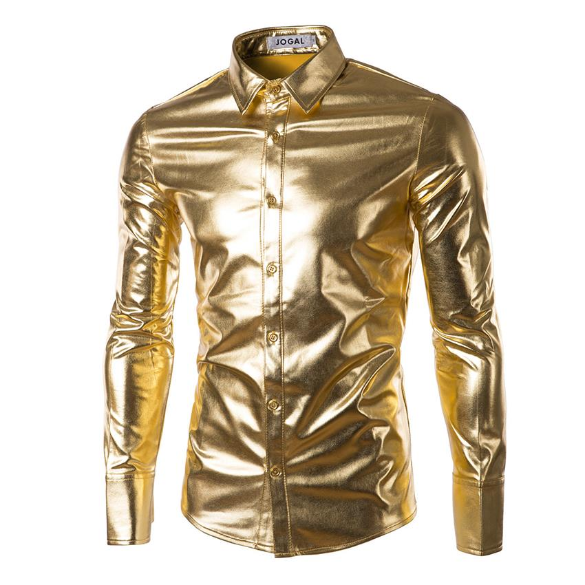 Slim Fit Elastic Shirts Gold Shiny Shirt Mens Dance Shirts Long Sleeve ...