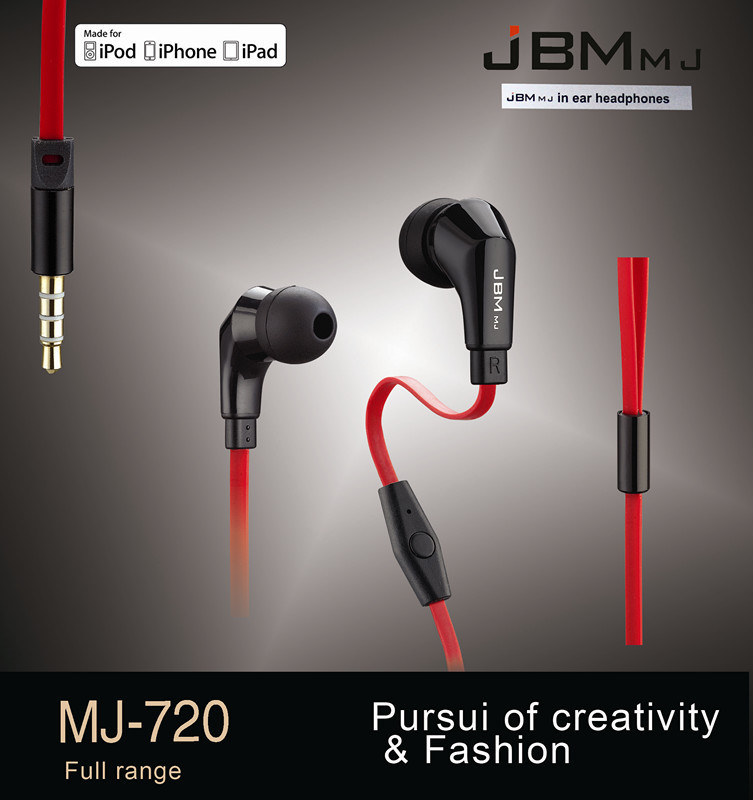 Original JBM MJ720 Great Sound 3 5mm Headset Headphone Super Bass Earphone With Mic For iphone