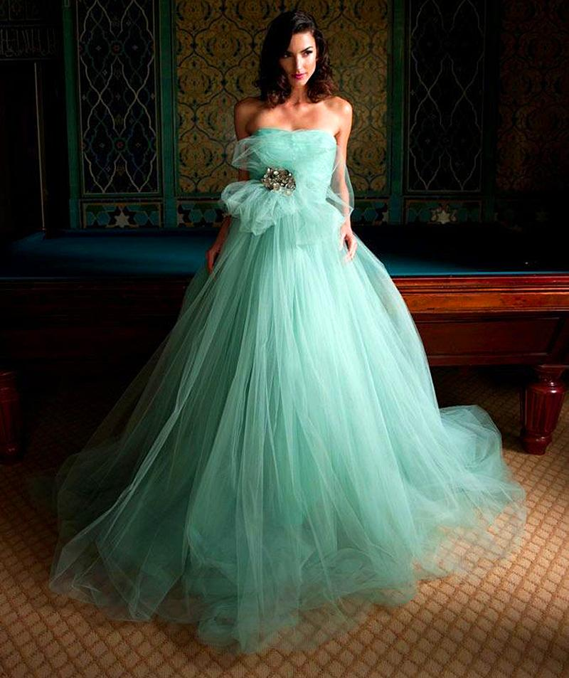 Hot mint green tulle wedding dresses 2016 a line strapless for Mint green wedding dress