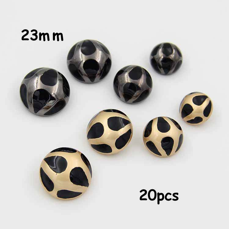 20pcs 23mm black epoxy metal coat buttons fashion buttons mushroom buttons sewing supplies Botoes(China (Mainland))