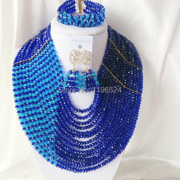 Luxury Crystal Necklaces Bracelet Earrings African Nigerian Wedding Beads Jewelry Set  A-3432<br><br>Aliexpress